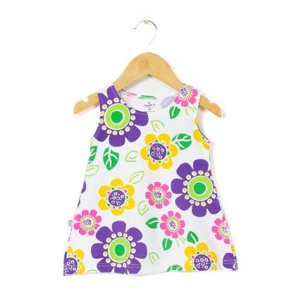 Round Neck Floral Printed Purple A Line Frock - Chocoberry