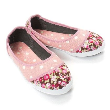 Pink Polka And Floral Print Bellies - Gift Shoes