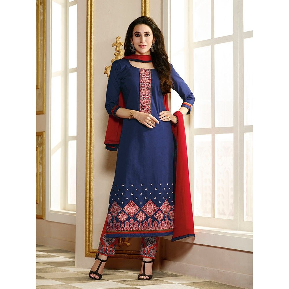 Navy Embroidery Semistitched Dress Material - Fabfella