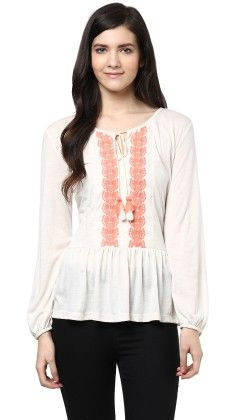 Centrally Embroidered Gathered Top - SBUYS