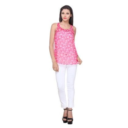 Pink Polyster Printed Halter Top - Varanga