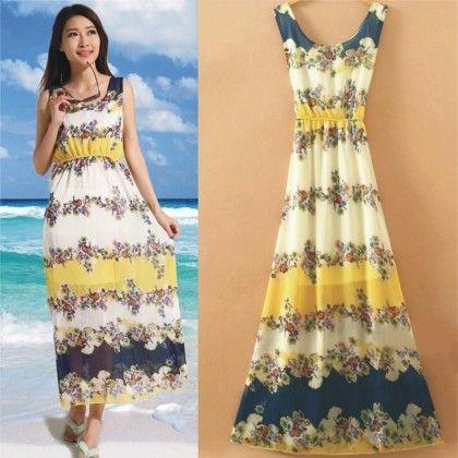 Chrome Floral Print Summer Long Dress - Dell's World