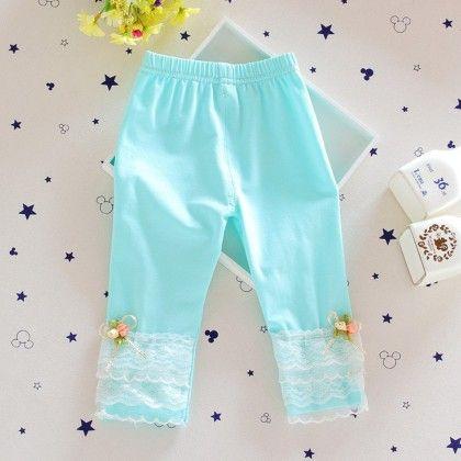 Lacy Sea Green Soft Capri - Lilpicks Couture