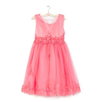 Peach Long Dress With Lace & Flower - Party Princess