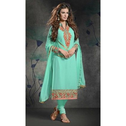 Turquoise With Red Embroidered Printed Designer Dress Material - Balloono