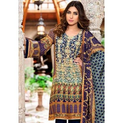 Beautiful Pakistani Style Printed Cotton Dress Material - Dk Blue - Afreen