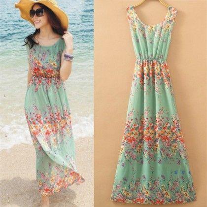 Mint Floral Print Summer Long Dress - Dell's World
