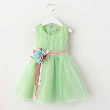 Green Floral Applique Frock - Lil Mantra
