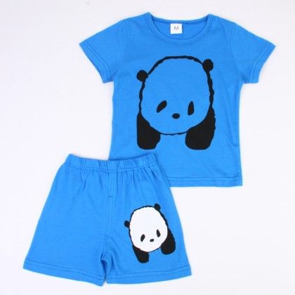 Cute Bear Print Top & Shorts Set - Blue - Ton