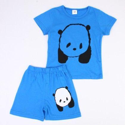 Cute Bear Print Top & Shorts Set - Blue - Ton