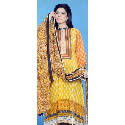 Lala Yellow Drops Printed Semistitched Suit - Mauve Collection