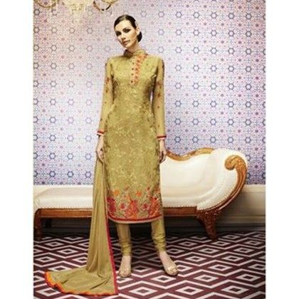 Beige & Pink Embroidered Unstitched Suit - Diva Palate