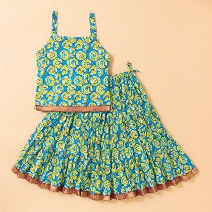 Jaipuri Printed Long Cotton Skirt Set - Green - BownBee