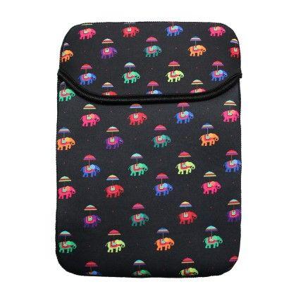 Tablet Sleeve 8 Inch Black Flying Elephants - The Elephant Company