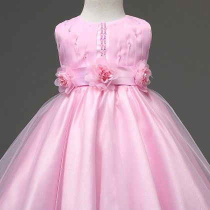 Pretty In Pink, Pearls And Ribbon Highlighted Dress - Mauve Collection