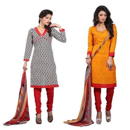 Dual Concept Of Cotton Jacquard Top With Matching Dupatta-2 Top  & 1 Bottom & 1 Duaptta-multi - Varanga