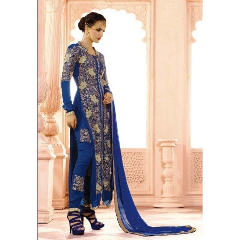 Blue Ethenic Wear With Suit And Skirt - Balloono