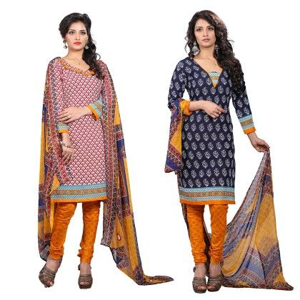 Dual Concept Of Cotton Jacquard Top With Matching Dupatta-2 Top  & 1 Bottom & 1 Duaptta -multi - Varanga