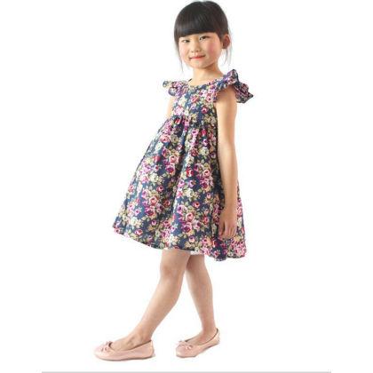 Classy Ruffle Sleeved Floral Dress - Navy - SJ