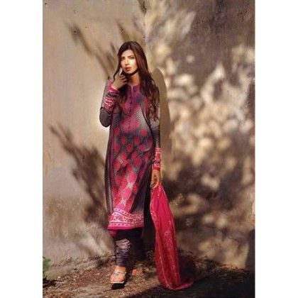 Gray & Pink Embroidered Unstitched Suit - Diva Palate