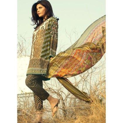 Sana Safinaz Olive Embellished Semistitched Suit - Mauve Collection