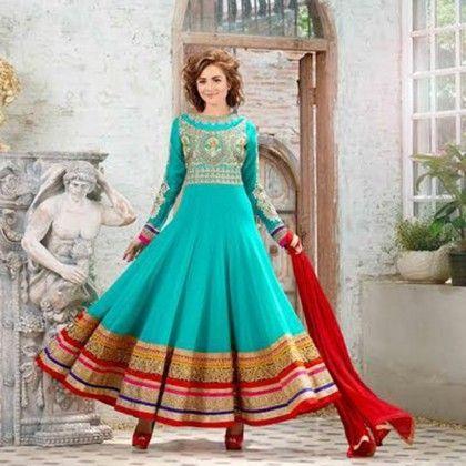 Turquoise Semistitched Western Anarkali Dress Material - Balloono