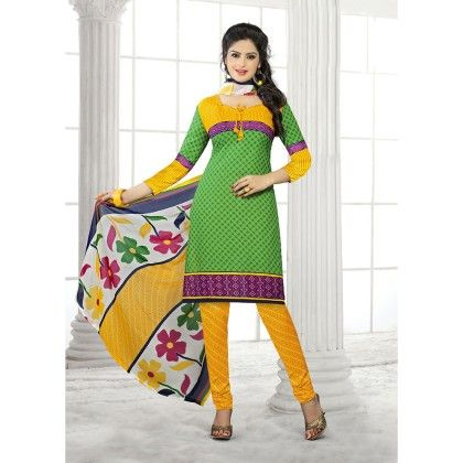 Green With Yellow Printed Crepe Designer Dress Material - Balloono