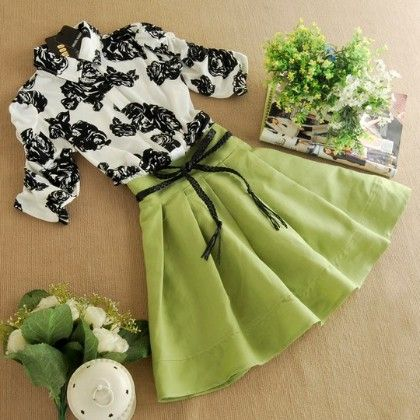 Green & White Printed Dress With Belt - Infinity Store