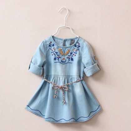 Cute Embroidery Denim Tunic With Belt, - Mauve Collection