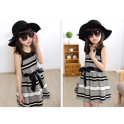 Black And White Striped Casual And Evening Dress - Teddy Guppies