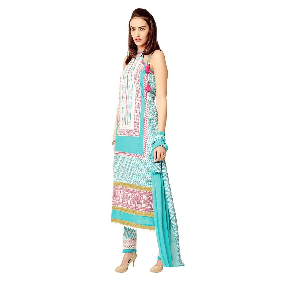 Exclusive Dress Material With All Over Front And Back Multi Design Print With Printed Dupatta Blue - Varanga