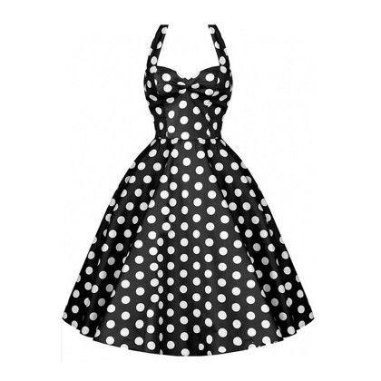 Black Polka Dot Backless Dress - STUPA FASHION