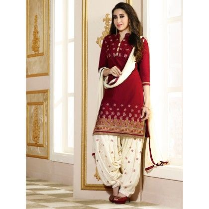 Red Semistitched Embroidery Dress Material - Fabfella