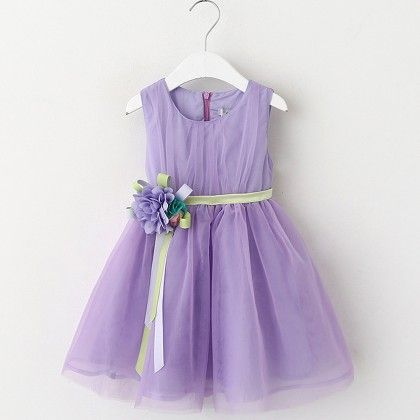 Purple Floral Applique Frock - Lil Mantra