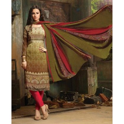 Printed Crepe Designer Wear For Classic Dress Material Olive - Balloono