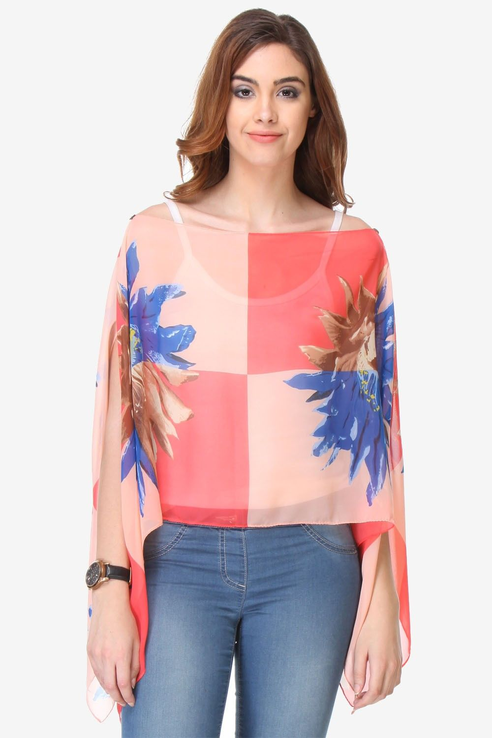 Varanga Printed Multi-color Chiffon Butterfly Top