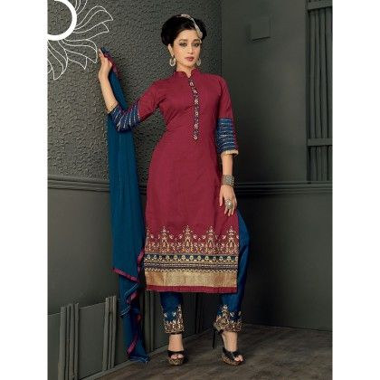 Red With Gold Embroidered Designer Dress Material - Balloono