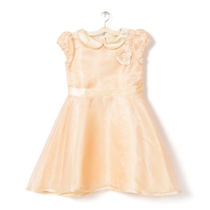 Girl's Light Pink Printed Fit & Flare Dress - Budding Bees