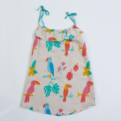 White Girl's Bird Prints Dress - Lourdes