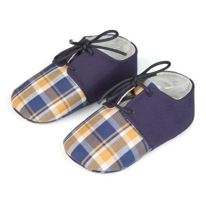 Checks And Lace Unisex Shoes - Blue - Jute Baby
