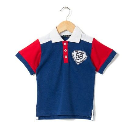 Contrast Sleeves Polo Royal Blue T Shirt - COOL QUOTIENT