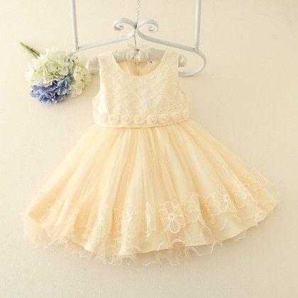 Beige Floral Waist Party Dress - Duo Duo Princess