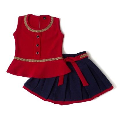 Red Squance Work Round Neck Top And Waist Dress - Aww Hunnie!!