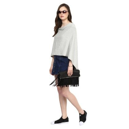Knitted Poncho Cape Wrap Top Light Grey - Pluchi