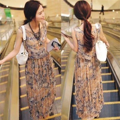 Beige Floral Print Summer Long Dress - Dell's World