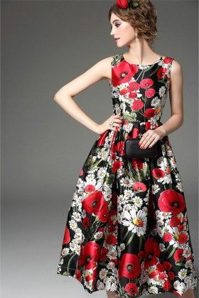 Red All Over Floral Evening Dress - Mauve Collection