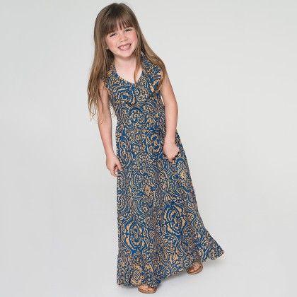 Blue & Gold Arabesque Ruffle Maxi Dress - Toddler & Girls - Yo Baby