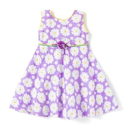 Purple Floral Printed Cotton Dress - BownBee