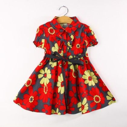 Red Floral Print Dress With Collar And Sash Tie - Koolee