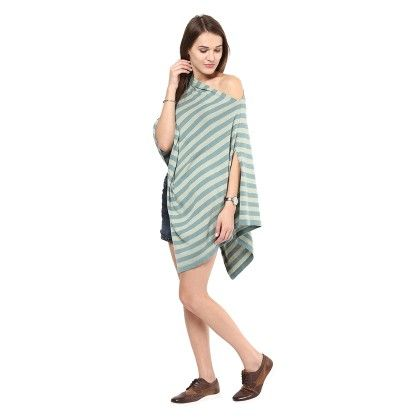 Knitted Poncho Cape Wrap Top B Green-mint - Pluchi